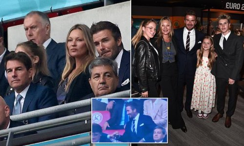 David Beckham joins Kate Moss to watch England vs Italy