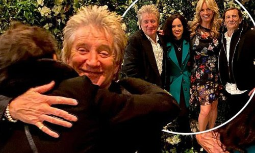 Rod Stewart embraces Ronnie Wood as lockdown restrictions end