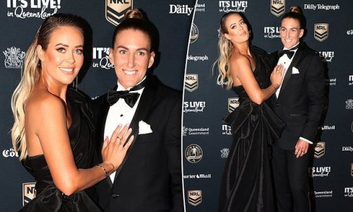 NRLW star Ali Brigginshaw and wife Kate look smitten at Dally M Awards