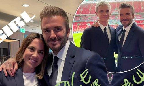 David Beckham grins alongside Mel C as they enjoy the England game