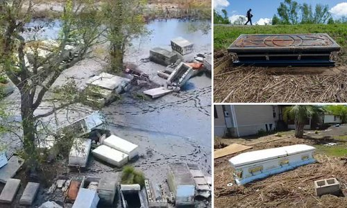 Caskets still around town after being washed out of tombs by hurricane