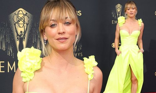 Kaley Cuoco brightens up the Emmys red carpet in busty neon green gown