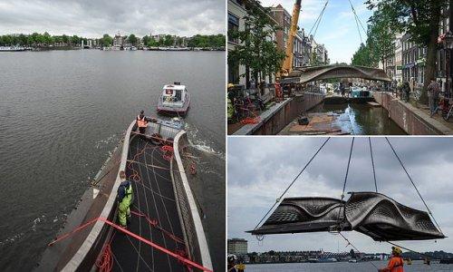 3D-printed steel footbridge unveiled in Amsterdam's Red Light District