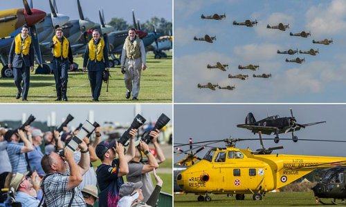 Chocks away! Visitors enjoy Duxford's spectacular 1940-themed air show