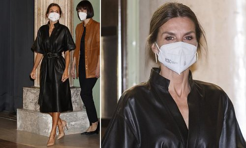 Queen Letizia of Spain channels rock chick style in a leather dress