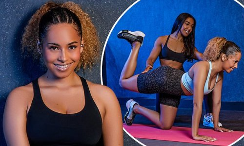 Amber Gill puts on a busty display in a black sports bra in the gym