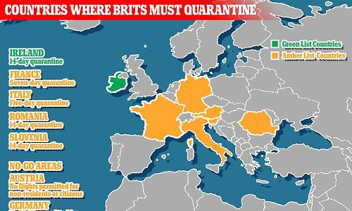 Hotspots including France and Italy require Brits to quarantine