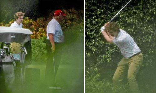 Barron Trump, 15, joins Donald on the golf course in Palm Beach