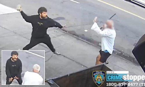 Moment man hurls a brick at handyman's face outside NYC bagel shop