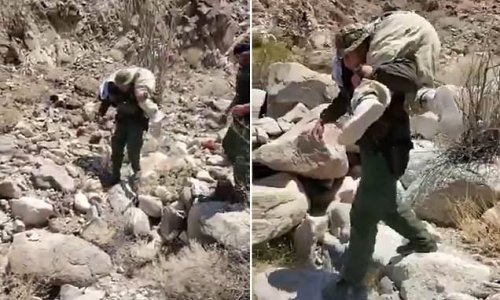 U.S. Border Patrol agent carries sickened migrant on his shoulders