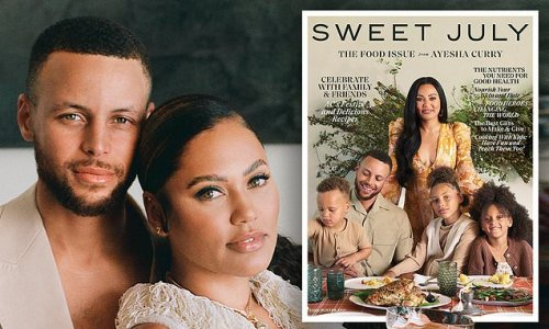 Stephen Curry and wife Ayesha pose with kids on cover of Sweet July