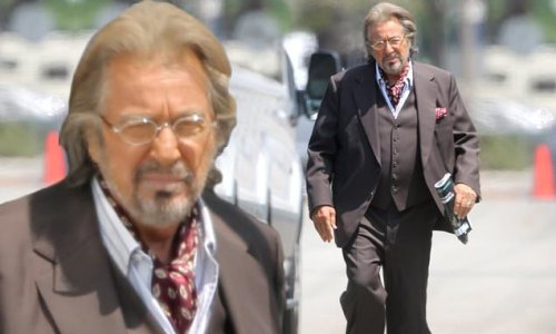 Al Pacino sports a dapper brown suit on set of a new project in LA