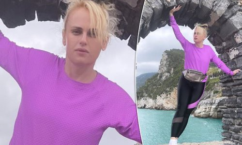 Rebel Wilson shows off her slim physique in activewear in Italy