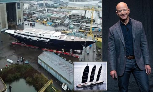 Jeff Bezos' £420m superyacht is glimpsed for first time
