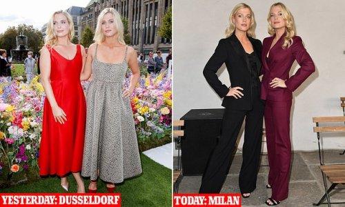 Lady Amelia and Lady Eliza Spencer at Milan Fashion Week