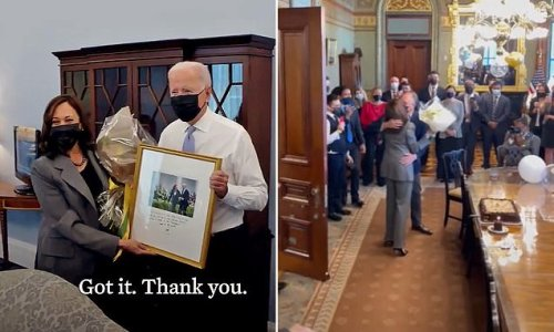 'Oh Joe!' Biden surprises Kamala Harris with birthday flowers