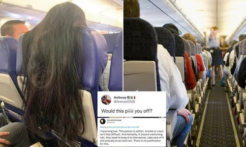 Plane passenger sparks fury after draping long hair over seatback