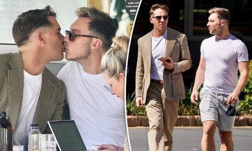 Hugh Sheridan and fiancé Kurt Roberts grab a coffee in Brisbane