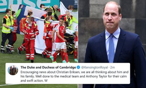 Prince William sends thoughts to Christian Eriksen and his family