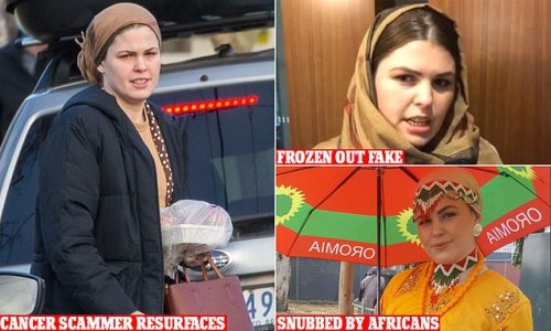 Snubbed cancer faker Belle Gibson steps out African-style with son