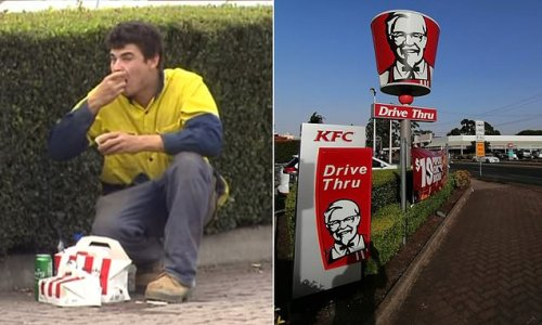 Tradie eats KFC and drinks beer on side of road after causing accident