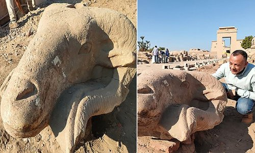 Archaeologists discover three rams head statues near Karnak Temple