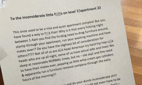 Fed-up tenant types furious letter to neighbours