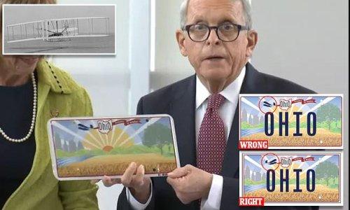 Ohio's new license plate got the Wright Bros' plane backward on design