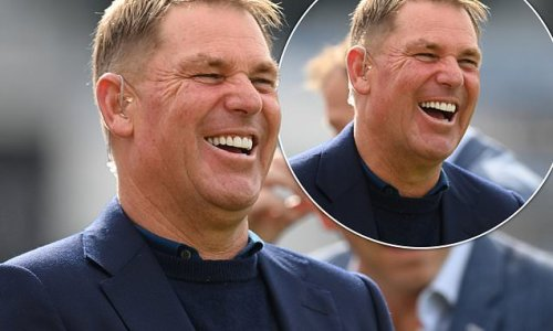 Shane Warne looks happy as he returns to work after battling Covid