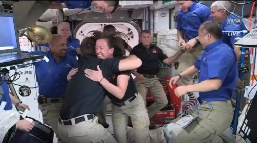 It's biggest space station crowd in a decade after latest crew arrives from Hawthorne-based SpaceX