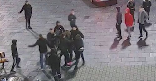 CCTV captures moment off-duty police woman single-handedly breaks up street brawl