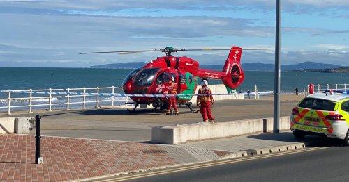 Pedestrian taken to hospital after being hit by car at seaside resort