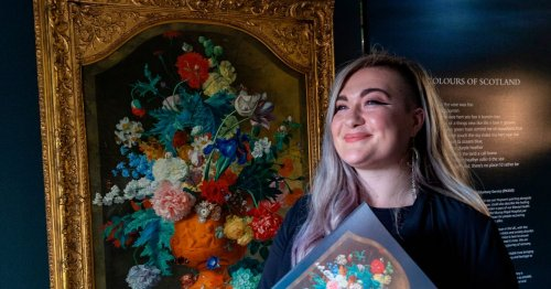 Fabulous floral painting loaned to PKAVS Perth cafe as part of UK tour