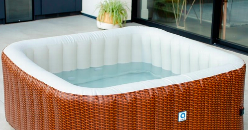 Rattan-effect hot tub on sale for £319.95 and includes free next day delivery