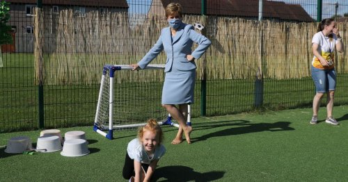 Confident Fallin youngster steals the show after nicking FM's shoes during nursery visit