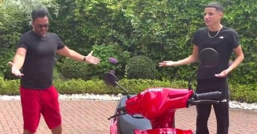 Peter Andre teary after surprising Junior with moped for 16th birthday