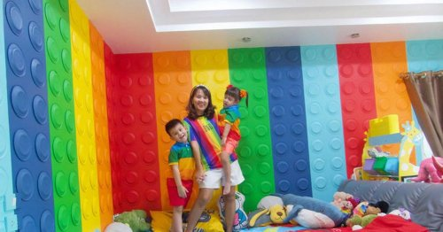 Mum creates incredible Lego-themed wonderland using paper plates and paint