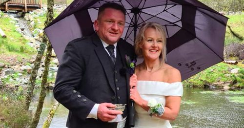 Scots couple and bridesmaids brave wind and rain for munro summit wedding