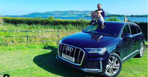 Martin Compston enjoys sunny weather 'cutting about Kinross' in Audi