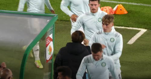 Kyogo Furuhashi's Celtic warm up routine shows his popularity
