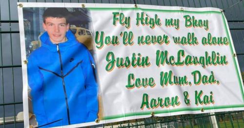 Justin McLaughlin's heartbroken family unveil banner for their 'blue-eyed boy'