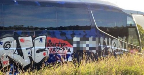 Rangers fans outraged after Lyon bus is vandalised with offensive graffiti