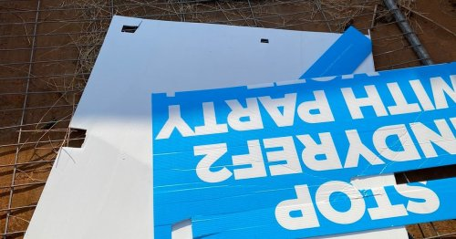 Election poster pulled down from beside the A9