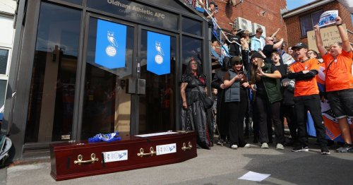 Oldham fans carry coffin and 'call on grim reaper' as protests get creative