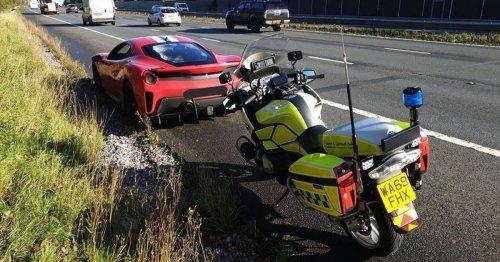 Speeding £250k Ferrari driver mocked by police after hitting 100mph on motorway