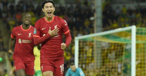 Minamino's celebration after Norwich brace sends Reds fans wild