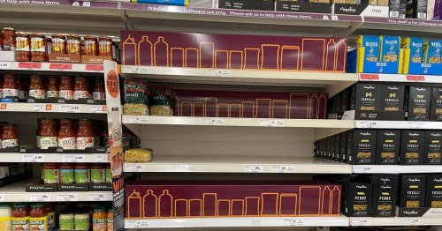 Shops mocked for using cardboard cut-outs to hide gaps left by supply chaos