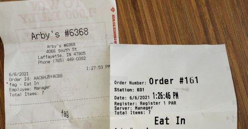 Fast food worker says homophobic slur on customer receipt was 'computer glitch'