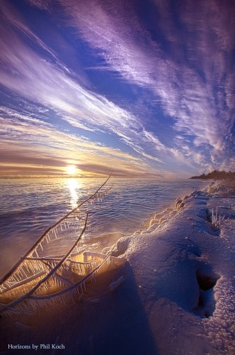 Sunrise on the shore of Lake Michigan in Wisconsin.... | Phil Koch