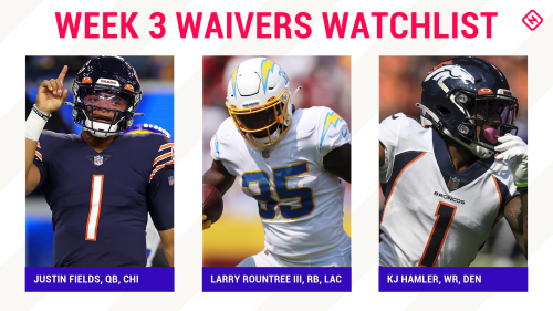 Fantasy Football Waiver Wire Watchlist for Week 3: Streaming targets, free agent sleepers include Justin Fields, Larry Rountree, KJ Hamler